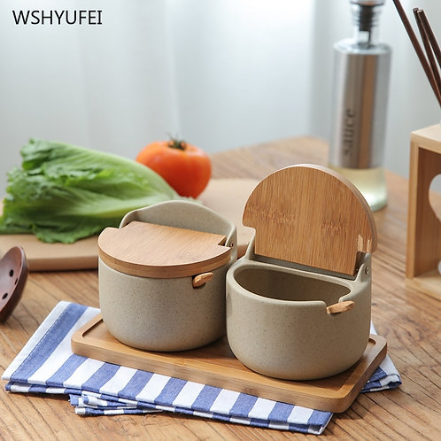 Japanese-Style Flip Cover Ceramics Jar With Lid Combination Set Kitchen
