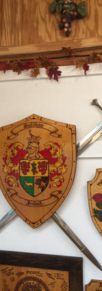 Crests on wall
