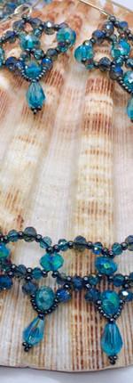 Blue Beaded Jewelry Set