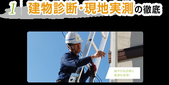 建物診断・現地実測の徹底 外壁、屋根の状態を細かな部分まで徹底診断!  必ず診断書をお渡しいたします。 細やかな診断と最適な提案!