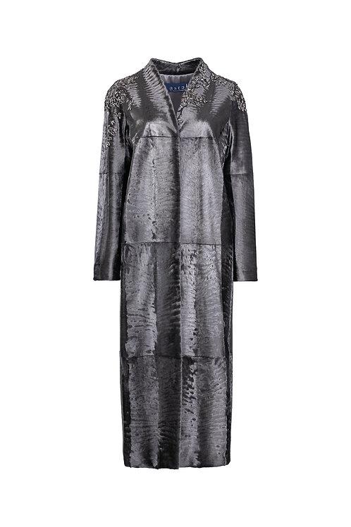 Пальто с поясом из металлизированной Swakara