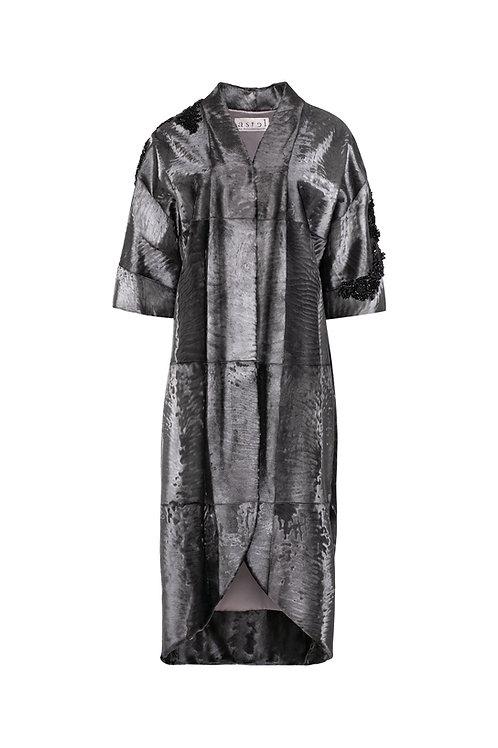 Пальто-халат из металлизированной каракульчи