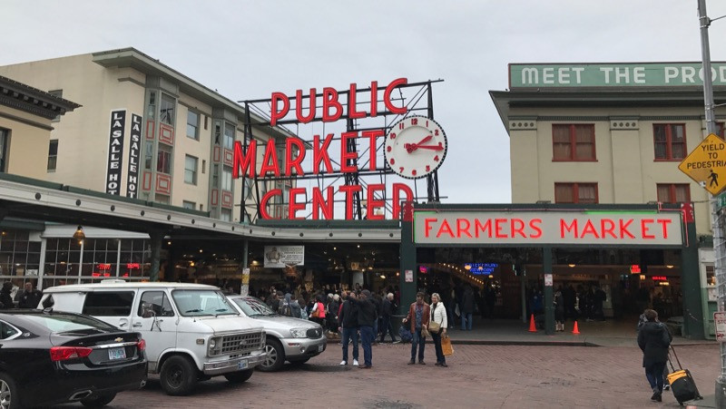 Pike Place Market on the way back from Veggie Grill to the ferry