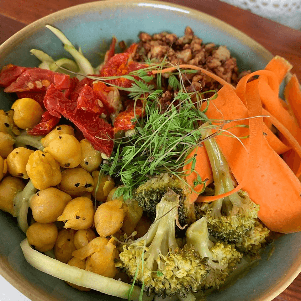 Zucchini pesto pasta at Retreat Kitchen