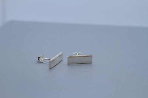 Solid Silver Rectangle Studs