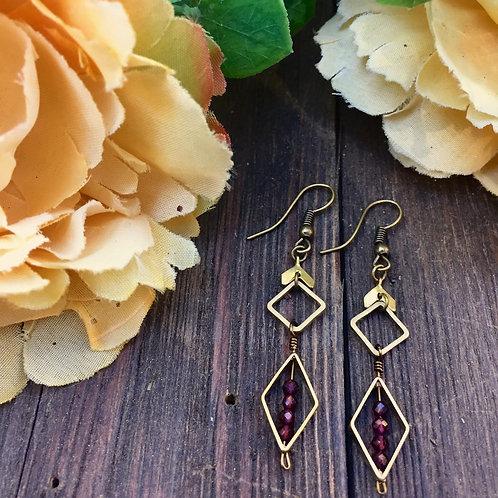 Garnet goddess earrings