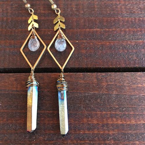 Titanium quartz mermaid earrings