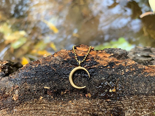 Crescent moon brass necklace