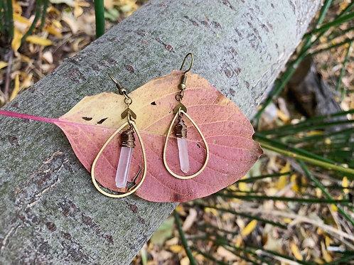 Quartz droplet earrings