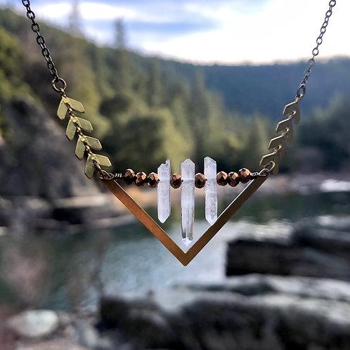 Quartz symmetry necklace