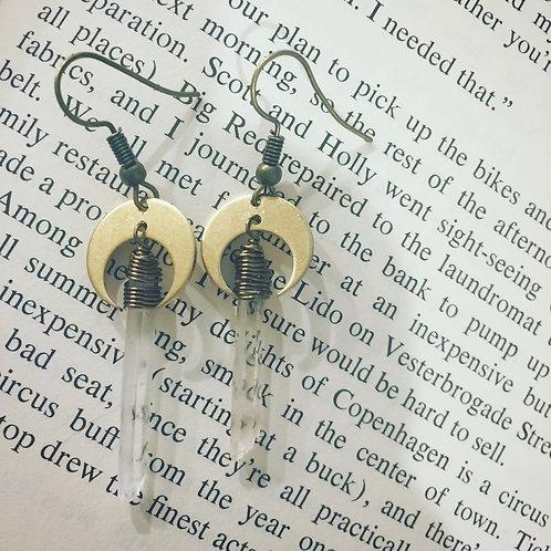 Quartz moon witchy earrings