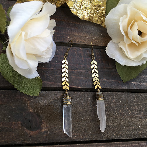Chevron quartz earrings