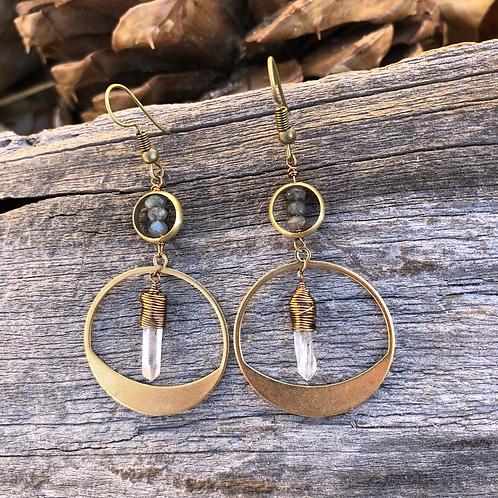 Labradorite and quartz retro earrings
