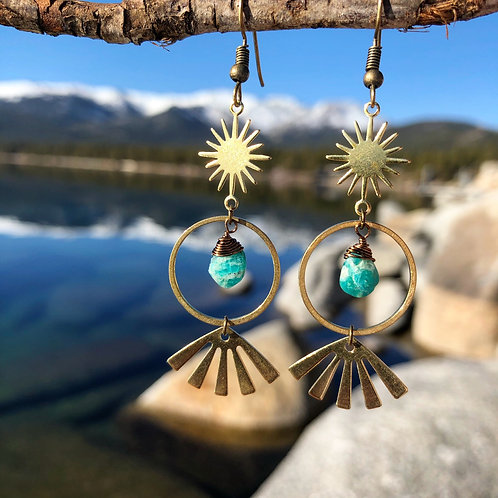 Amazonite sun burst earrings