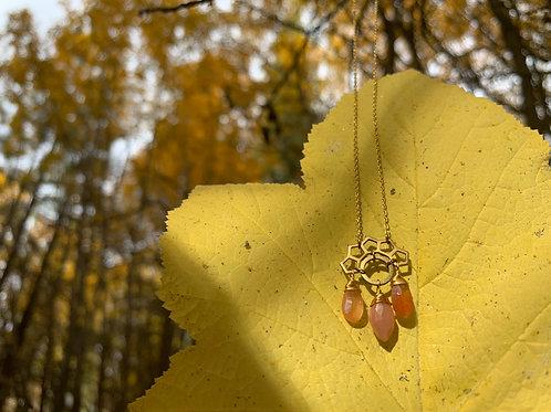 Pink Moonstone Mayan Necklace