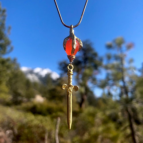 Carnelian dragon slayer necklace
