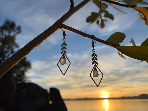 Moonstone chevron earrings
