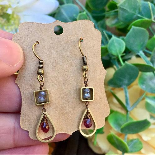 Garnet Droplet Earrings