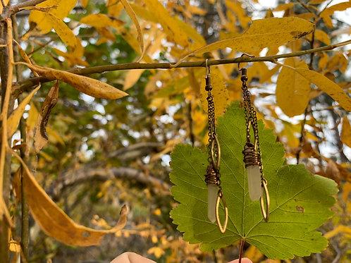Quartz leaf earrings