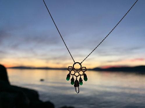 Emerald and Quartz Mayan Necklace