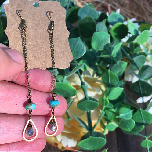Turquoise and labradorite drop earrings