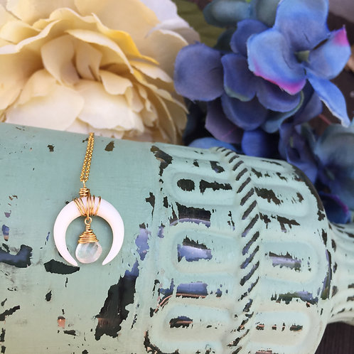Double horn crescent moonstone necklace