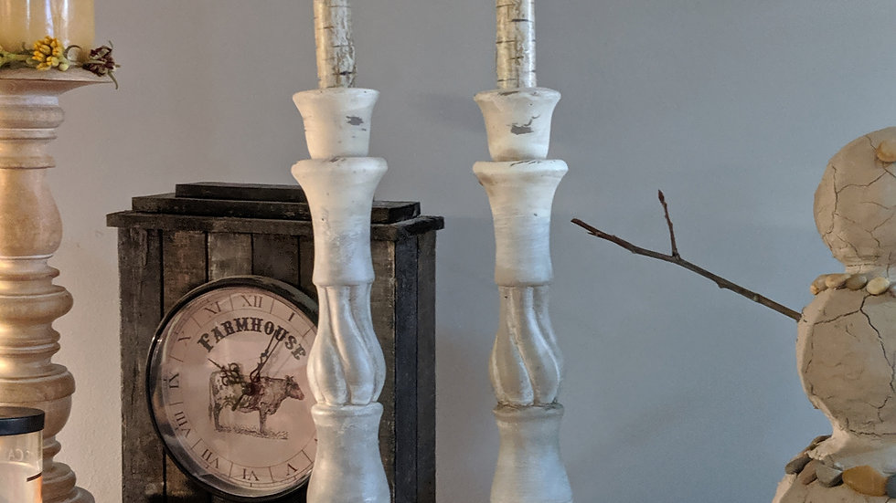 White Candleholder with birch candles