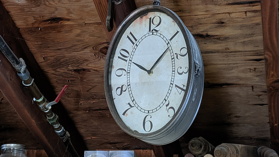 Old Fashioned Clock with metal hanger