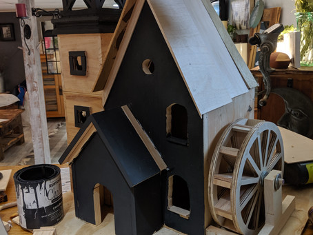 Rock Water Wheel Birdhouse