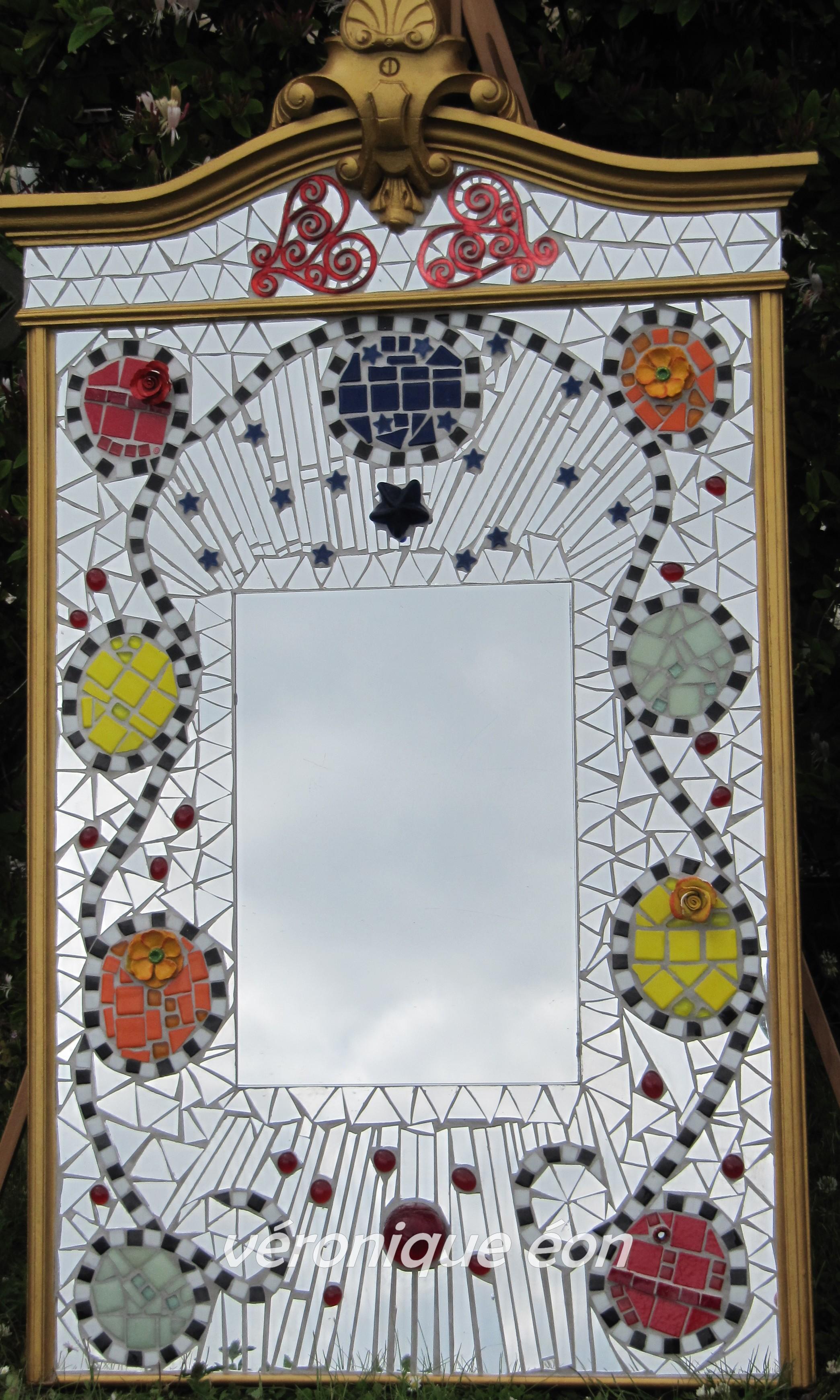 Miroir Doré et Mosaïqué