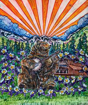 """Bluegrass Dreamin'"" Watercolor pencils on paper"