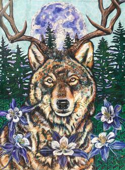 Acrylic paint and mixed media on canvas