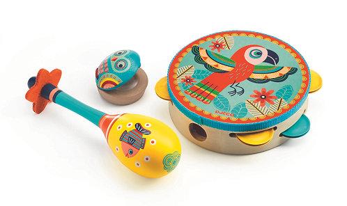 Animambo - Set of 3 instruments Tambourine/maracas/castanet