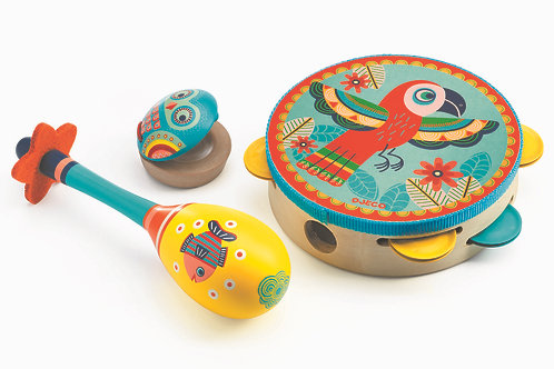 Animambo - Set of 3 instruments Tambourine/maracas/castanet