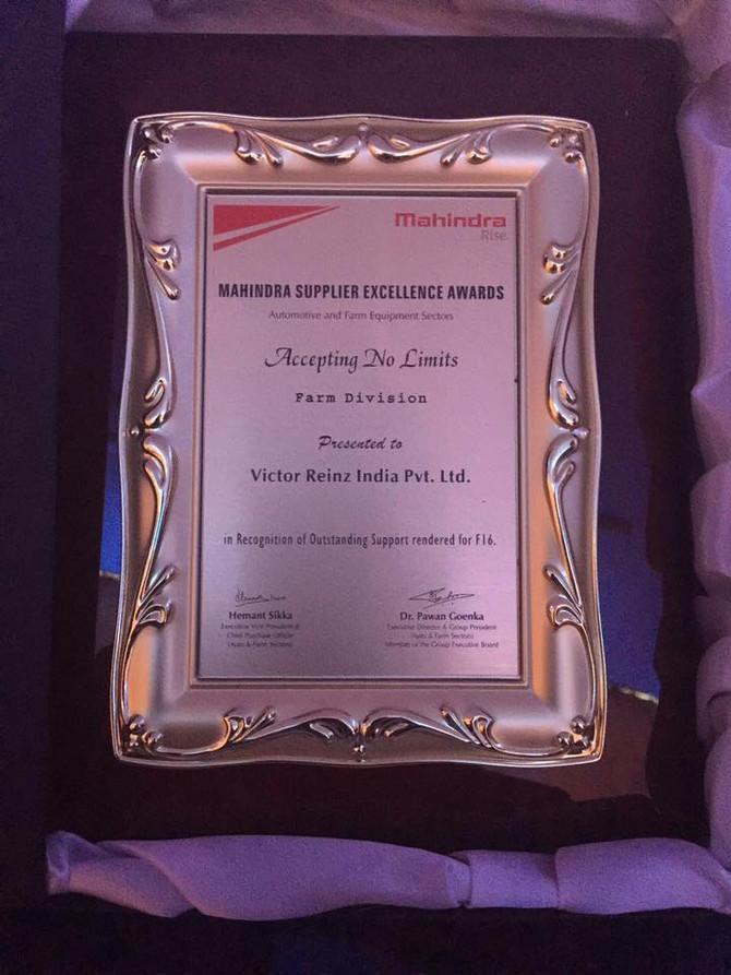 Victor Reinz India wins award from Mahindra