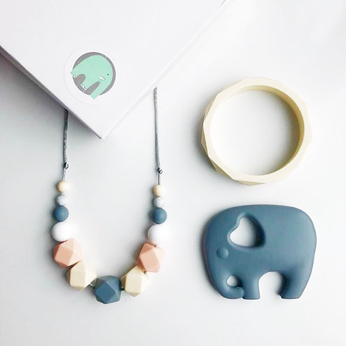 Spring or Iris Gift Set including Elephant or Owl Teether