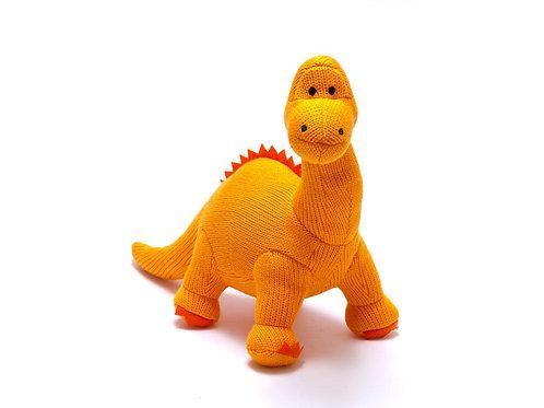 Small Orange Diplodocus Knitted Dinosaur Rattle