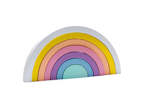 Wooden Rainbow Stacker Toy - Pastel Colours