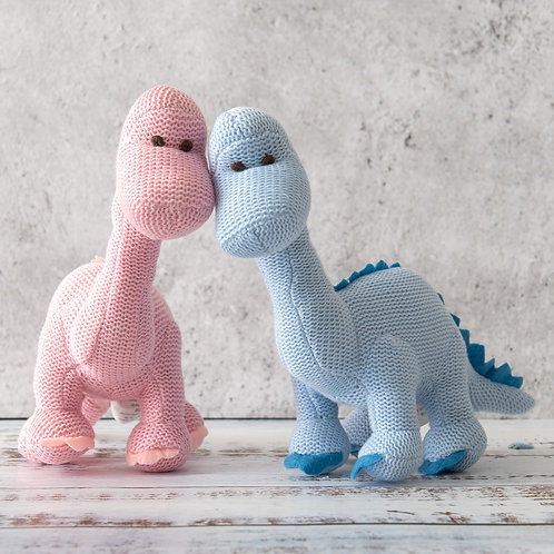 Organic Knitted Diplodocus Rattle Toy
