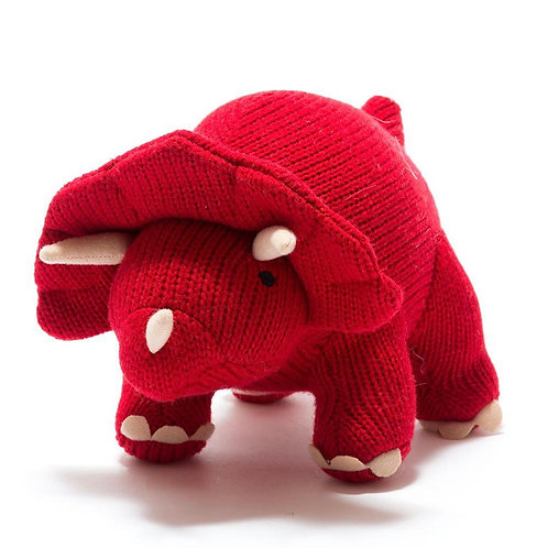 Medium Knitted Red Triceratops Soft Toy