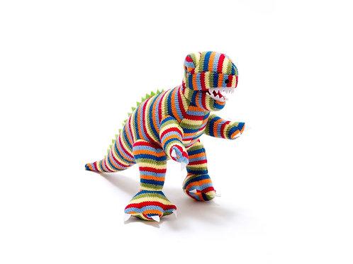 Small Rainbow Stripe T Rex Knitted Dinosaur Rattle