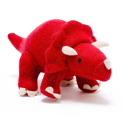 Small Red Triceratops Knitted Dinosaur Rattle