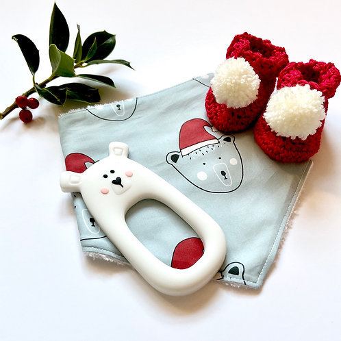 Limited Edition Christmas Bear, Bib & Bootie Gift Set