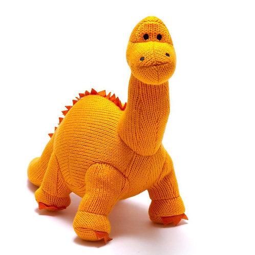 Medium Knitted Orange Diplodocus Soft Toy