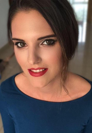 Wedding trial makeup with eyeliner and red lip