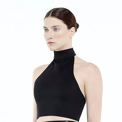 High Collar Open Back Crop