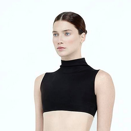 High Collar Sleeveless Crop Top