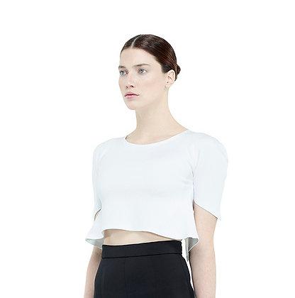 MV Open Back Crop Top-White