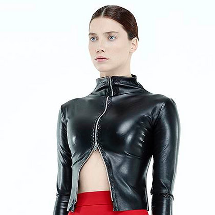 Asymmetrical Inverted Zip Jacket-Leather