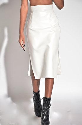 White Croc Embossed Skirt